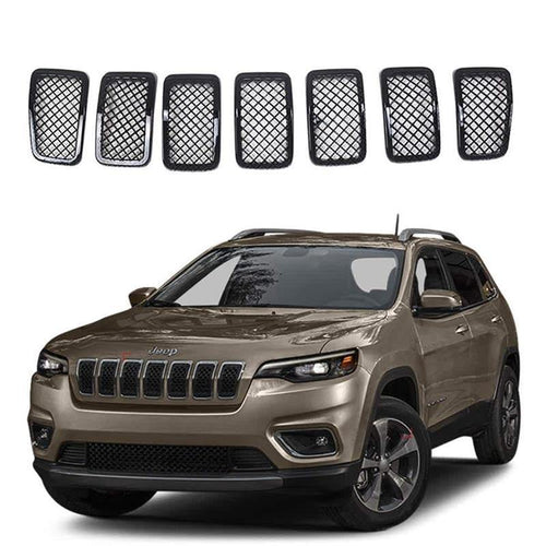 NINTE 7pcs ABS Front Mesh Grill Cover-Painted Gloss Black Grille Trim For 2019 2020 Jeep Cherokee - NINTE
