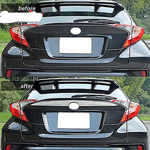 NINTE ABS Chrome Accessories Rear Upper Trunk License Plate Tailgate Cover Trim For Toyota C-HR 2017-2019 - NINTE