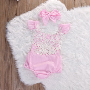 Cute Flower Romper and Bow Headband Set – Girl's Romper Outfit