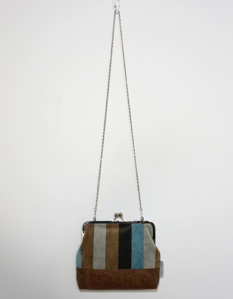 Charlie Clutch Striped Leather & Suede Front