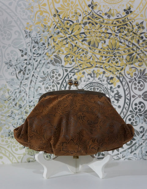 Clothilde Embossed Brown Faux Leather Clutch