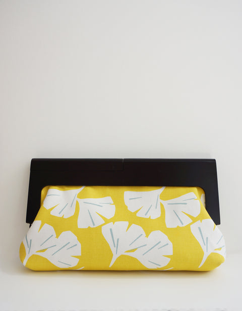 Luisa Ginkgo Clutch with Black Wood Painted Frame