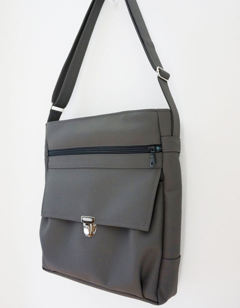 The High Flyer - soft dark grey vegan leather - cross body. shoulder bag