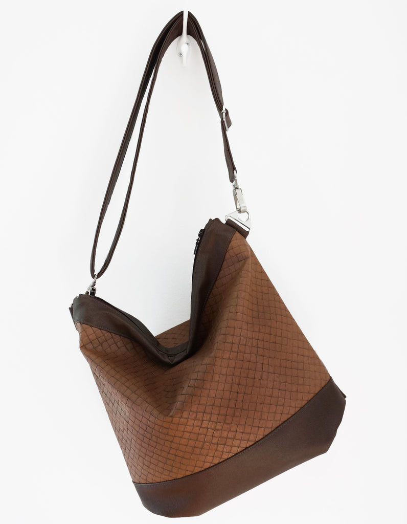 Sofia - basket weave textured vegan leather - boho style slouch bag