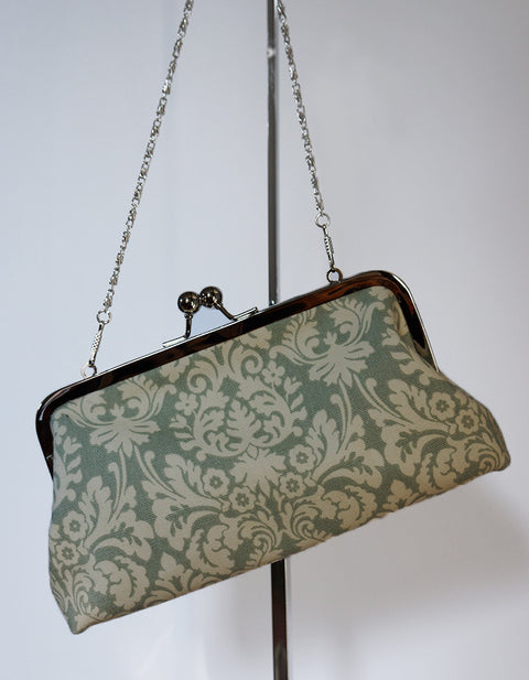 Grey Damask Clutch
