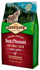 CARNILOVE Duck & Pheasant for Adult Cats – Hairball Control - Jurassic Bark Pet Store Littleport Ely Cambridge