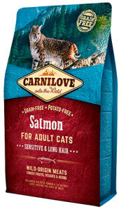 CARNILOVE Salmon for Adult Cats – Sensitive & Long Hair - Jurassic Bark Pet Store Littleport Ely Cambridge