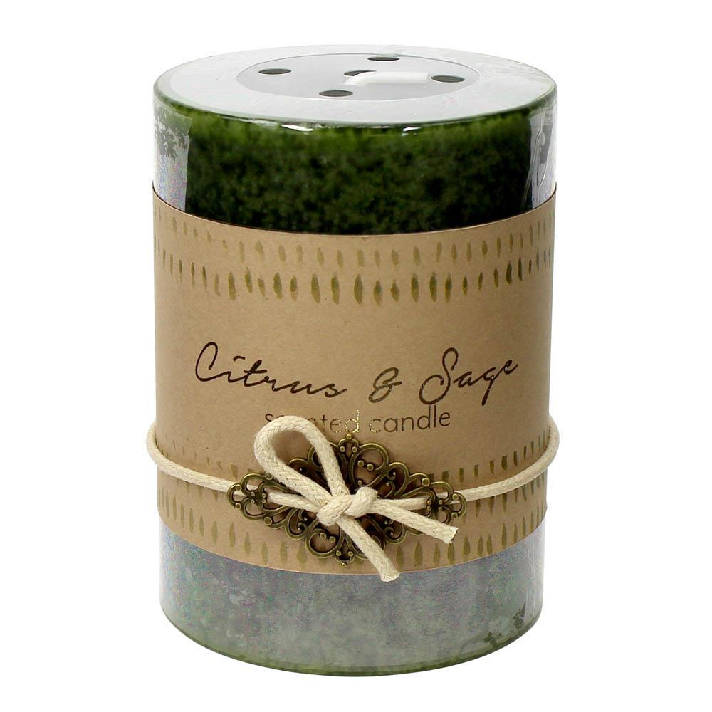 Citrus And Sage Pillar Candle 3X4