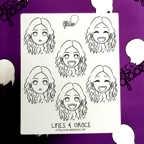 Coloring Girl FACE Mood or Emoji Stickers (Happy)