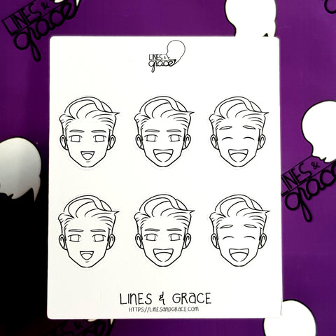 Coloring Guys FACE Mood or Emoji Stickers (Happy)