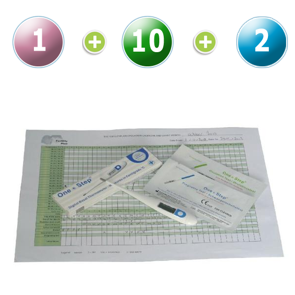 1 Thermomètre digital BBT + 10 tests d'ovulation 20mIU (Bandelettes) + 2 tests précoces de grossesse (10mIU)