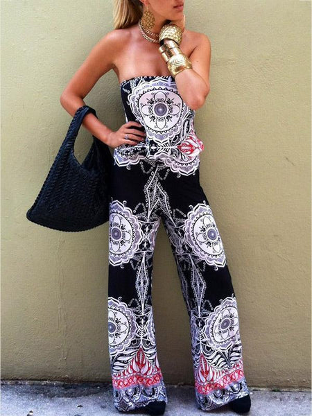 Print Off Shoulder Backless Jumpsuit Rompers