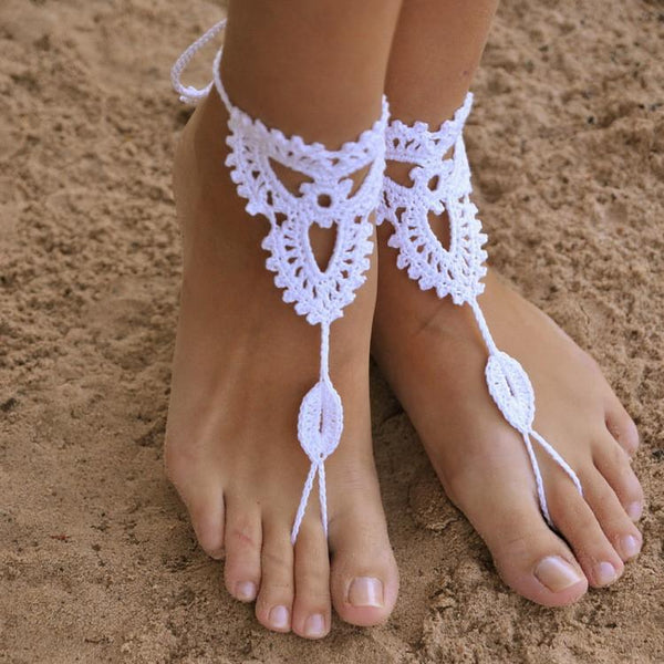 Handmade cotton thread flower anklet bracelet