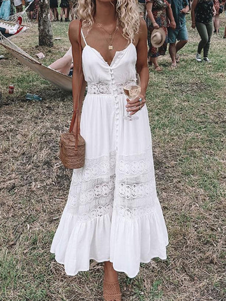Sexy Solid Color Tie Knot Hollow Out Sleeveless Lace Dress