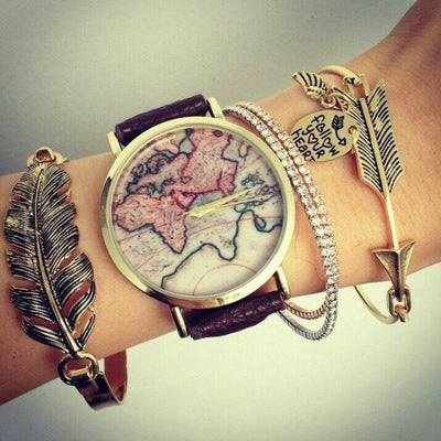 Boho Retro Golden Arrow Leaf Feather Drill Chain Bracelet Set