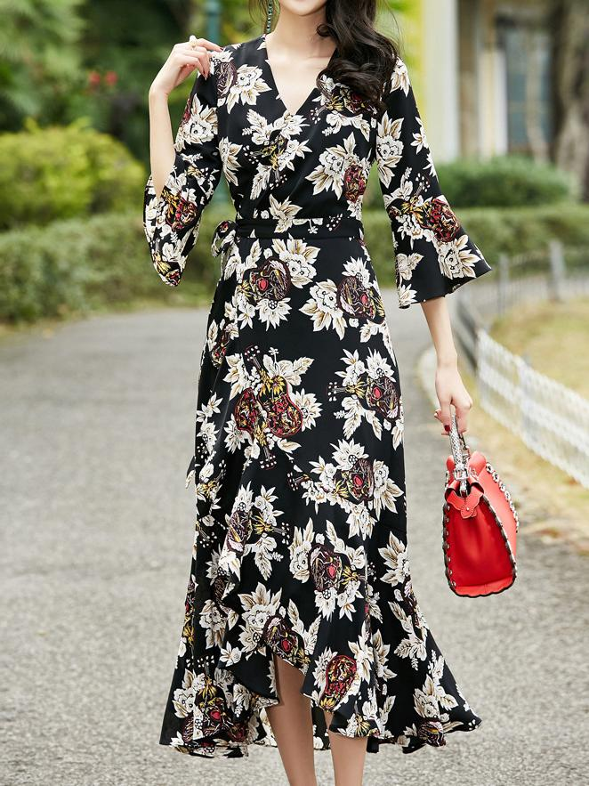 2018 New Printed V Neck Half Sleeve Maxi Dress