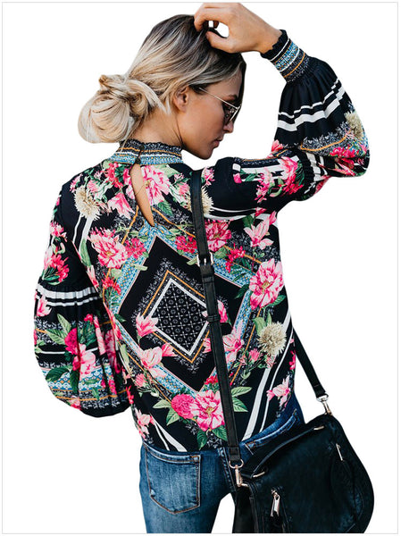 High Neck Long Sleeve Shirt Flower Printed Slim Blouse