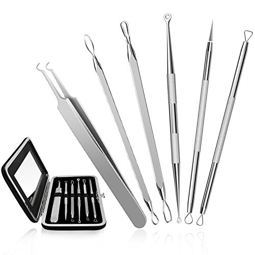Chimocee Professional Surgical Blackhead Remover Tools, Blemish And Splinter Acne Pimple Removal Kit, Come Done Extractor Tool For Whitehead, Pimples And Zit Popper Leather Case With Mirror