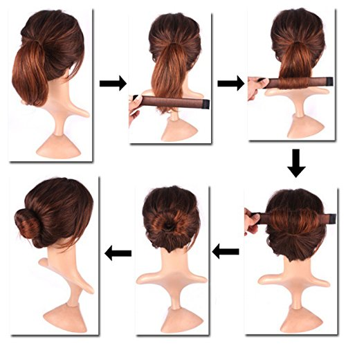 Women'S Hair Bun Maker French Twist Hair Fold Wrap Snap By K-Beauty (1 Black, 1 Brown)