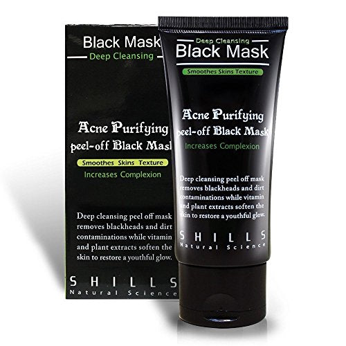Shills Purifying Blackhead Removing Peel-Off Mask, Charcoal Facial Deep Cleanser, Acne Face Mask (Single)