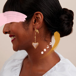 Guinevere Drop Earrings in Gold Vermeil and Pink Moonstone