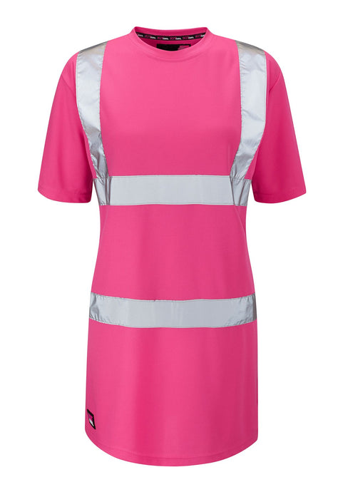 Womens See Me Hi Vis Pink Safety Tee Shirt - Pink - Work Kit Girl