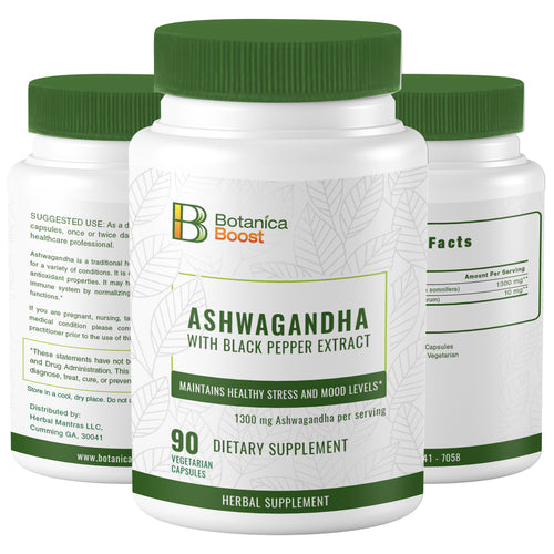 Ashwagandha 650mg Natural Root Powder Extract Supplement Capsules for Stress and Anxiety Relief,Mood Support and Improved Energy (90 Count)