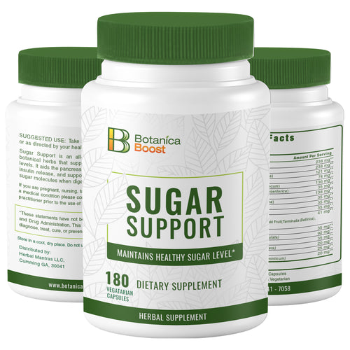 Botanica Boost 450mg Blood Sugar Support Supplement, 100% Natural Blend of 17 Ayurvedic Herbs for Healthy Pancreas Function (60 Capsules)