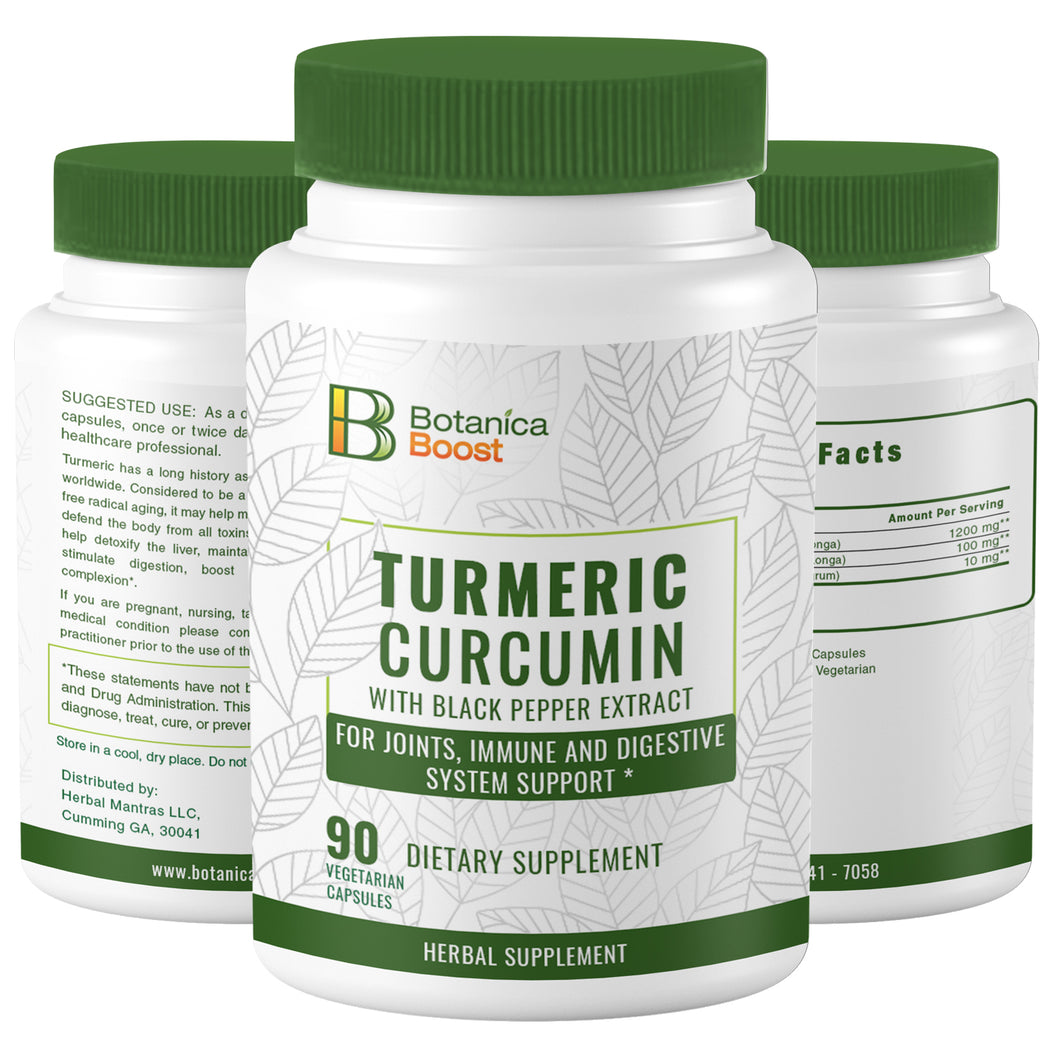 Turmeric Curcumin 650mgDietary Supplement Capsules with BioPerine, 100% Natural Anti-Inflammatory for Joint Support and Cardiovascular Health (90 Count)