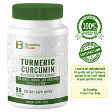 Load image into Gallery viewer, Turmeric Curcumin 650mgDietary Supplement Capsules with BioPerine, 100% Natural Anti-Inflammatory for Joint Support and Cardiovascular Health (90 Count)
