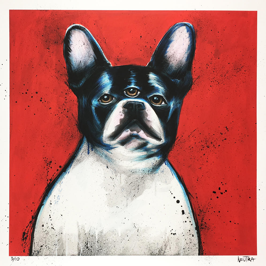 He Knows - HAND EMBELLISHED Three Eyed French Bulldog Print