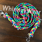 WhinneyWear Custom 8ft Neon Rainbow Reins