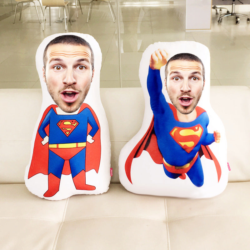 Custom Superman Face Pillow Super Dad Gift - Make Custom Gifts