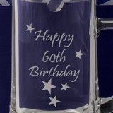 60th - Happy 60th Birthday - Engraved Tankard Beer Pint Glass - engraving-gallery.com
