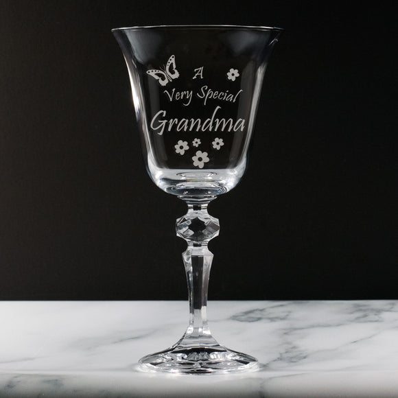 Grandma - A Very Special Grandma - Engraved 24% Lead Crystal Wine Glass - engraving-gallery.com