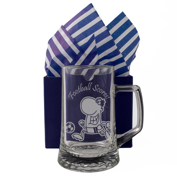 Football Scores! - Engraved Tankard Beer Pint Glass - engraving-gallery.com