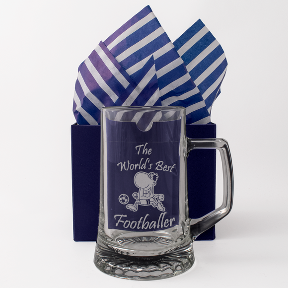 The World's Best Footballer - Engraved Tankard Beer Pint Glass - engraving-gallery.com