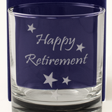 Happy Retirement - Engraved Whisky Tumbler Glass - engraving-gallery.com