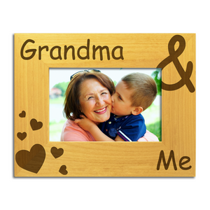 Grandma and Me - Engraved Solid Wood Photo Frame - engraving-gallery.com
