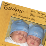 Twins, Two Little Miracles, Names and Weights - Personalised Wood Photo Frame - engraving-gallery.com