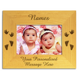 Twins, Hands and Feet - Personalised Wood Photo Frame - engraving-gallery.com
