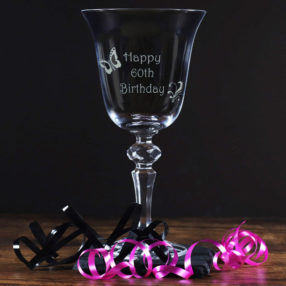 60th - Happy 60th Birthday - Engraved Crystal Wine Glass
