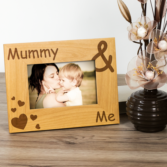 Mummy and Me - Engraved Wood Photo Frame - engraving-gallery.com