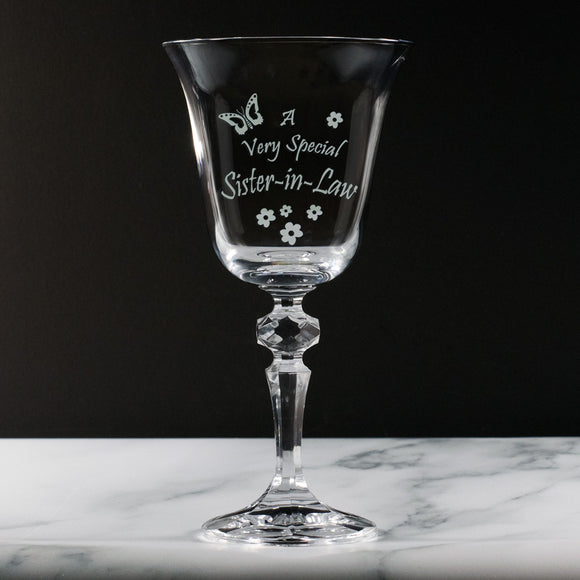 Sister-in-Law - A Very Special Sister-in-Law - Engraved Crystal Wine Glass