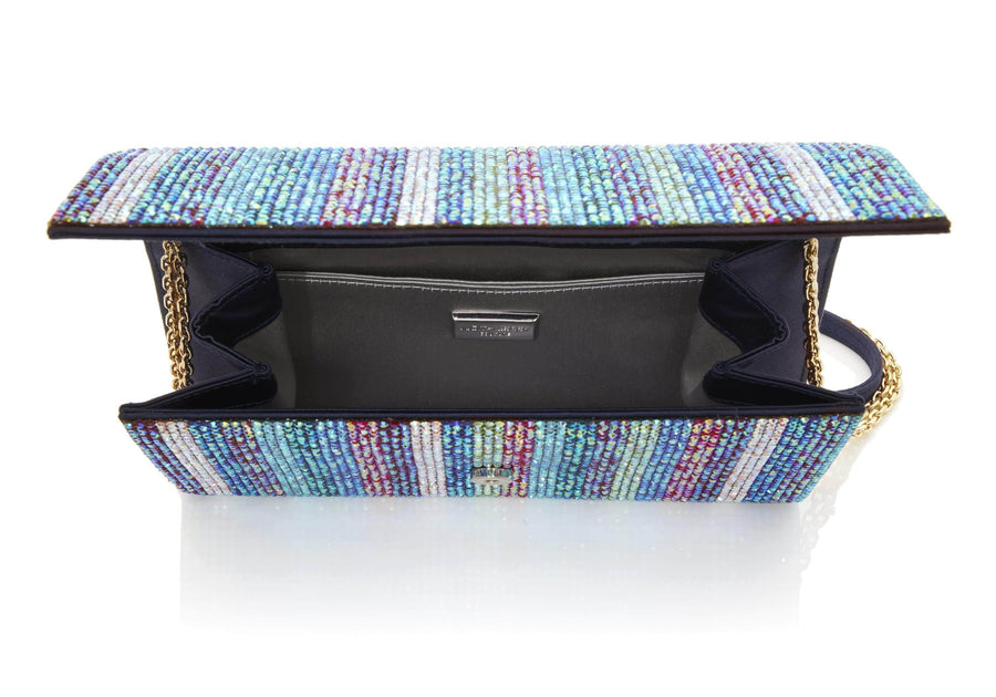 Fizzoni Iridescent Stripe Crystal Clutch