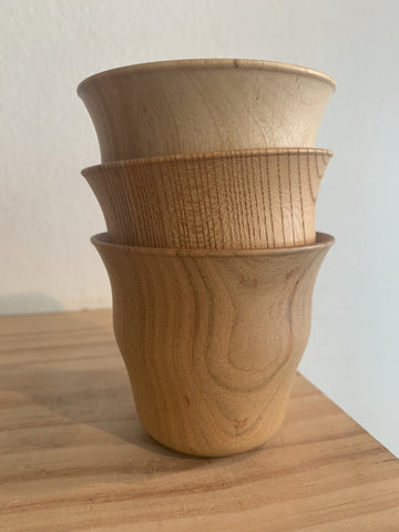 """Wibble"" Hand Carved Wooden Cups From Kyoto"