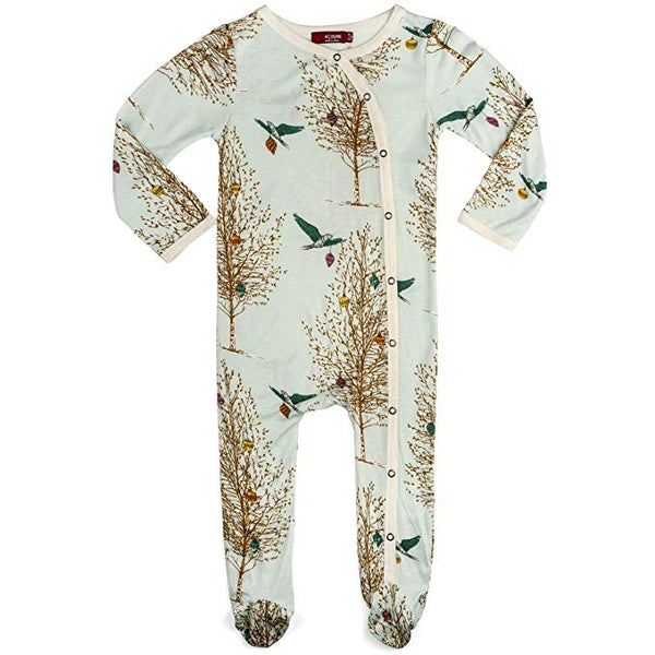 Bamboo Footed Romper Christmas Birds