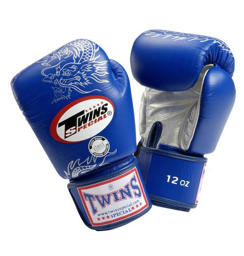 Twins Dragon Boxing Gloves- Blue Silver - Premium Leather