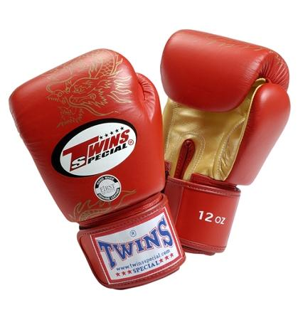 Twins Dragon Boxing Gloves- Red Gold - Premium Leather