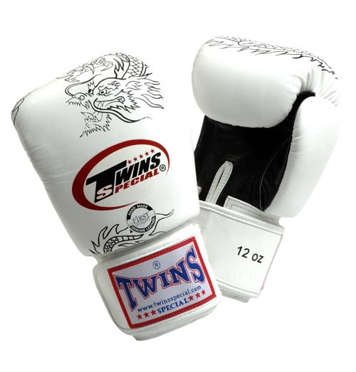Twins Dragon Boxing Gloves- White Black - Premium Leather